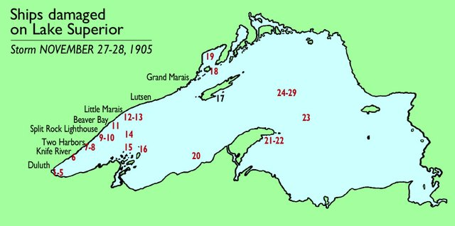 1905 Storm: Ships Damaged on Lake Superior