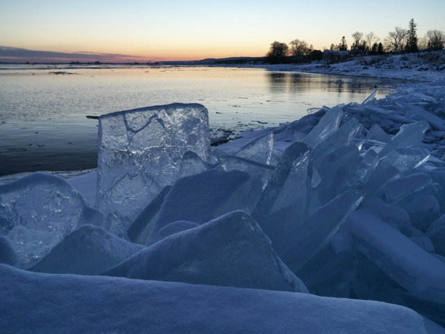 Piles of Ice on the Lake Superior Shore in Duluth