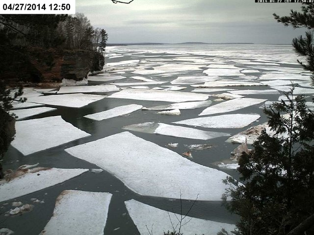 Ice Breaks Up at Apostle Islands Sea Caves