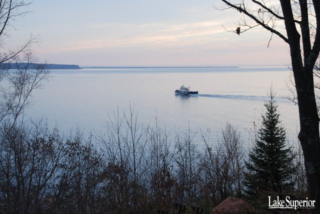 Bayfield Harbor and Ferry Wallpaper