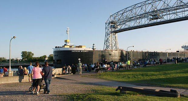 Visit Duluth - Boat under the Bridge in Canal Park
