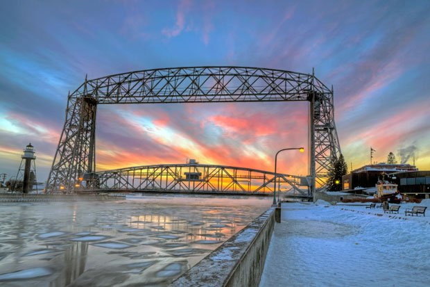 Visit Duluth - Aerial Bridge Winter Sunset