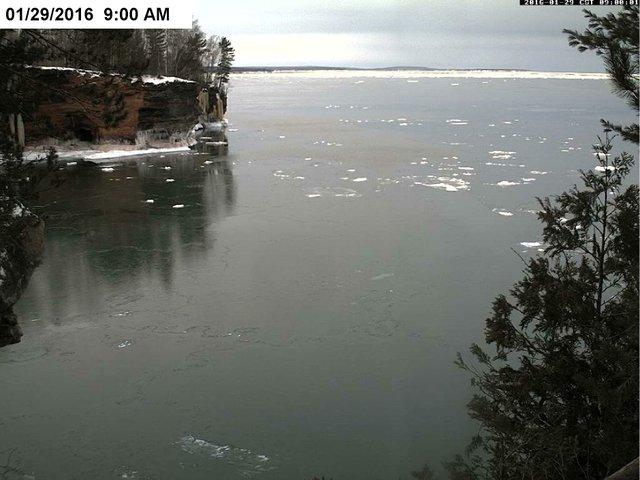 Apostle Islands sea caves ice