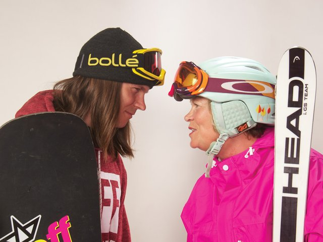 Snowsporting Mom & Son Go Global