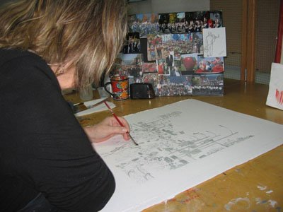 "Artist France Miller is involved in the creation of the Bayfield Apple Festival Poster artwork, titled ""After the Parade."""